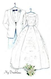 sketch of wedding dress tux u0026 bouquet one year by dreamlines