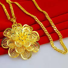 big gold fashion necklace images Wholesale not fade long sweater chain necklace gold flower pendant jpg