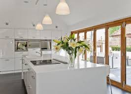 kitchen central island contemporary kitchen in gloss white with built in storage large