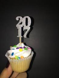 New Year Cupcake Decoration by 2017 Silver Glitter New Year Cupcake Topper 20 Pieces 2612329