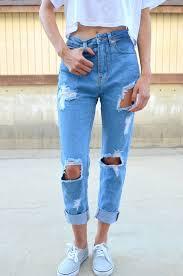 Light Blue High Waisted Jeans Jeans Boyfriend Jeans Denim Light Blue Acid Wash Ripped Jeans