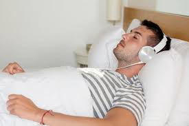 Man Sleeping In Bed Young Man Sleeping In Bed Listening Music Stock Image Image