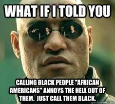 Funny Memes Black People - what if i told you calling black people african americans annoys