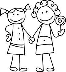friendship girls outline coloring page wecoloringpage