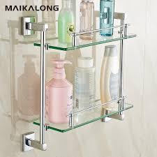 square design double bathroom shelves glass shelf chrome finish