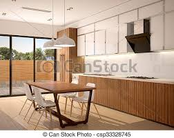 Warm Modern Kitchen - drawing of 3d illustration of modern kitchen interior and dining