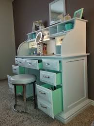 Home Goods Vanity Table Roll Top Desk Makeover By Chelsea Lloyd Surprise Mint Drawers My