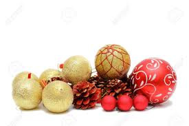 red and gold christmas baubles and pine cones isolated over white