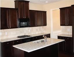 dark brown wooden kitchen cabinets and rectangle kitchen island