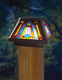 moonrays post cap lamp in stained glass design 6x brighter solar