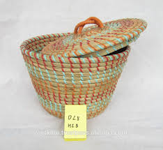 wholesale woven plastic seagrass basket with lid buy wholesale