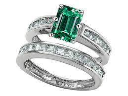 emerald cut wedding set k emerald cut simulated emerald wedding set 305924