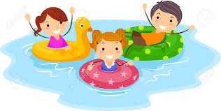 illustration of kids wearing flotation devices stock photo