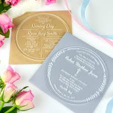 baptism engraving engraved acrylic christening invitations personalised favours