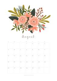 flower of the month printable august 2018 calendar monthly planner flower design a