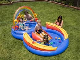 intex rainbow ring pool play center water slide wading pool