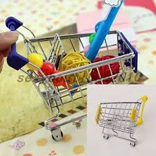 mini shopping cart trolley desktop storage solutions home ornament