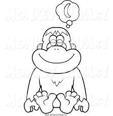 clip art of a black and white orangutan monkey daydreaming about