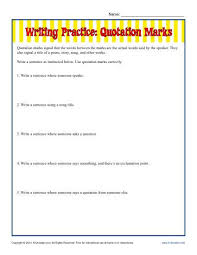 writing practice quotation marks punctuation worksheets
