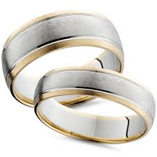 matching wedding rings two tone 14k white yellow gold matching wedding ring set his