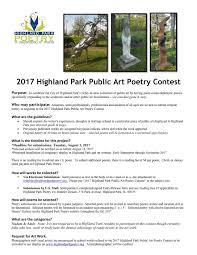 2017 highland park public art poetry contest downtown highland park