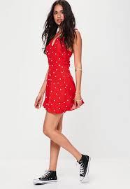 red polka dot skater dress missguided
