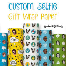 custom gift wrap custom selfie gift wrap paper thoughtful gifts sunburst