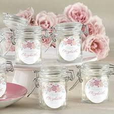 personalized glass jar favors with rustic bridal design