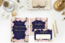 navy and blush wedding invitations navy blush gold wedding invitations reception card