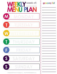 printable meal planner with calorie counter printable menu planner printable menu planner template weekly diet