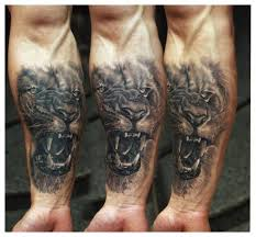 related tattoos lion family tattoo on upper back crawling lion