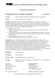 Date Of Availability Resume Umuc Europe Employement Announcement