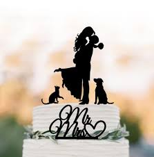 family wedding cake topper with dog cake toppers with two cats