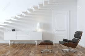 minimalist interior minimalist interior room with lounge chair door version stock