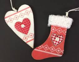 nordic wooden christmas tree ornaments red stocking u0026 white heart