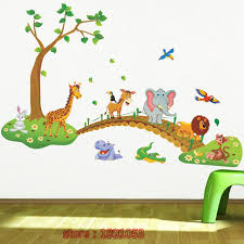 Children S Living Room Furniture by Owl Cartoon Elephant Giraffe Crossing Pattern Wall Stickers