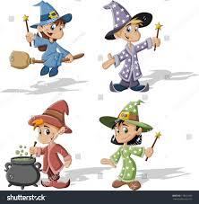 cartoon wizard boys witch girls halloween stock vector 175971065