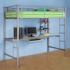 metal bunk bed with desk foter