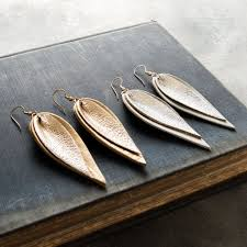 earrings s metallic leather leaf earrings magnolia market chip