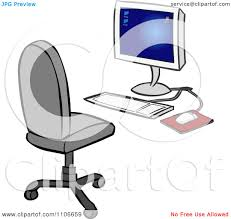 Office Chair Clipart Clipart Desktop Computer And Office Chair Royalty Free Vector