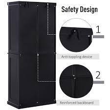 black kitchen pantry cupboard homcom traditional freestanding kitchen pantry cabinet cupboard with doors and shelves adjustable shelving