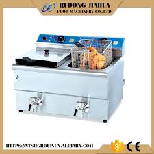 industrial counter top electric 2 tank deep fryer machine funnel