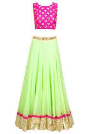 Pink Colour Combination Dresses by Beautiful Color Combination Of Lahenga Choli Lehengas
