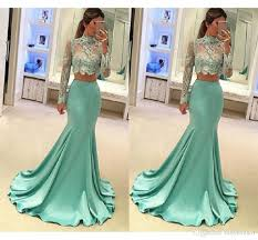 mint green prom dresses long sleeve mermaid style 2018 high