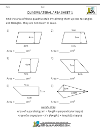 practice math worksheets quadrilateral area 1 teacher stuff
