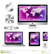 ordinateur de bureau apple mac ordinateurs de macbook d d iphone d imac d apple image stock