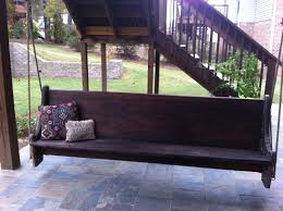my dad and i made this swing it is an old church pew