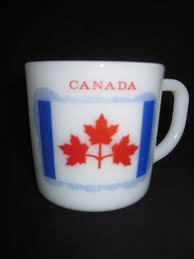 Canadian Flag 1960 Milk Glass Mug With Pearson U0027s Pennant Flag U0026 Parliament Buildings