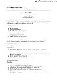 Test Engineer Resume Template Sample Quality Engineer Resume Quality Engineer Resume Sample