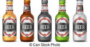 vector clipart of green beer bottle label template saint